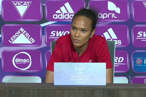 Wendie Renard, en conférence de presse au Groupama Stadium le 20 Avril 2019