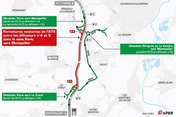 Le 12 avril, la circulation sera déviée sur l'autoroute A75 près de Clermont-Ferrand.