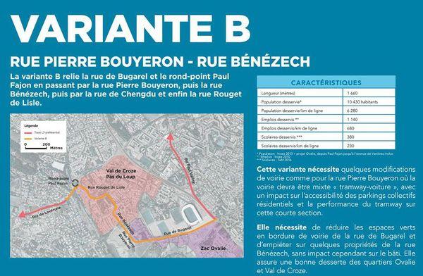 La variante B du tracé de la ligne 5 de tram à Montpellier.