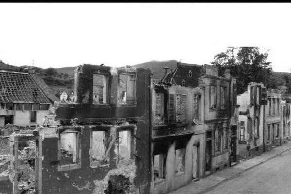 Ingersheim après les bombardements en février 1945