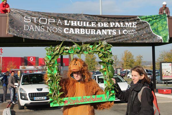 """L'association """"Les Amis de la Terre"""" manifeste à Fontaine-lès-Dijon pour dire """"non à l'huile de palme"""" - 4 novembre 2017"""