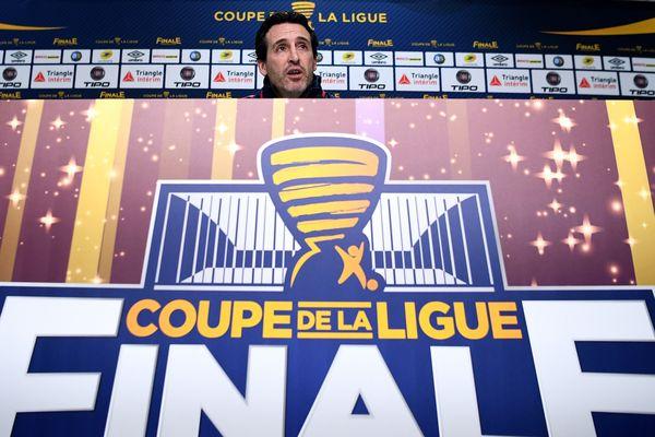 L'entraîneur du PSG, Unai Emery, lors de la conférence de presse d'avant-match au stade Matmut Atlantique de Bordeaux, le 30 mars.