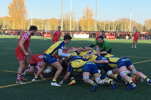 Les rugbymen marcquois lors du derby contre Beauvais, en novembre au Stadium de Villeneuve-d'Ascq.