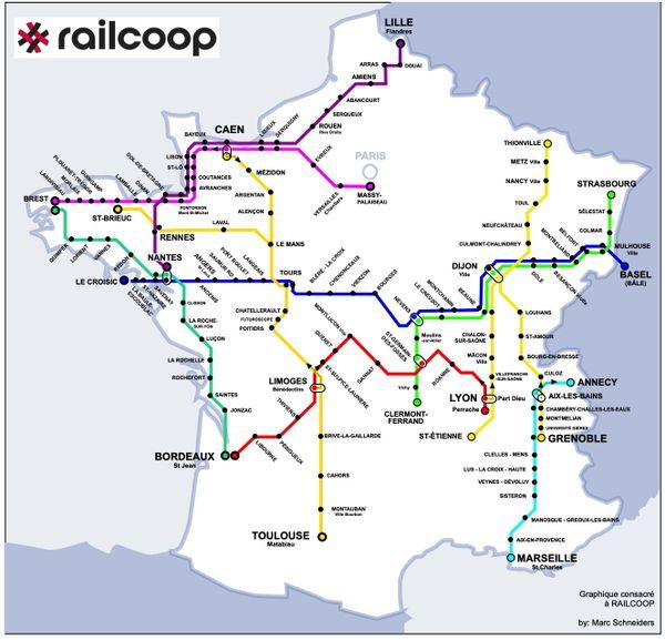 Carte des lignes notifiées par Railcoop à l'Autorité de régulation des transports