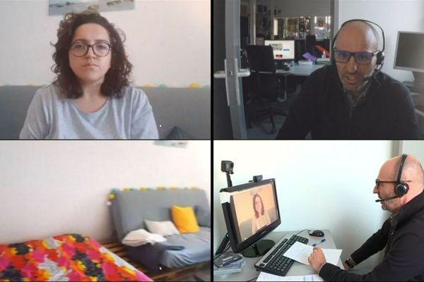 Pour respecter scrupuleusement les mesures de sécurité, Laurent Vincensini a interrogé Sandra Luciani grâce à des webcams, sans sortir de la rédaction de France 3 Corse