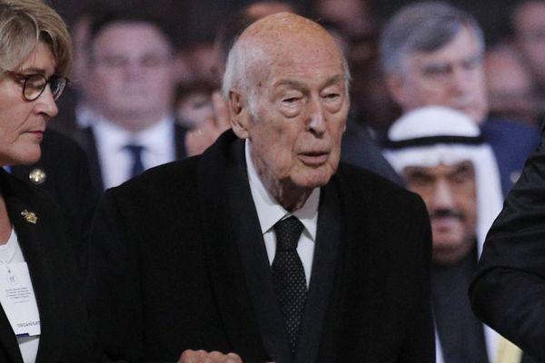 Une plainte pour agression sexuelle a été déposée contre Valéry Giscard d'Estaing, photographié ici lors des obsèques de Jacques Chirac en 2019.