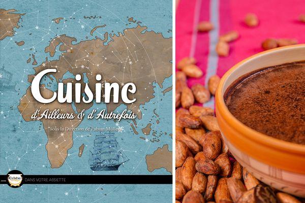 """Une partie de la couverture de l'ouvrage """"Cuisine d'ailleurs et d'autrefois"""" / Le dessert du menu aztèque"""
