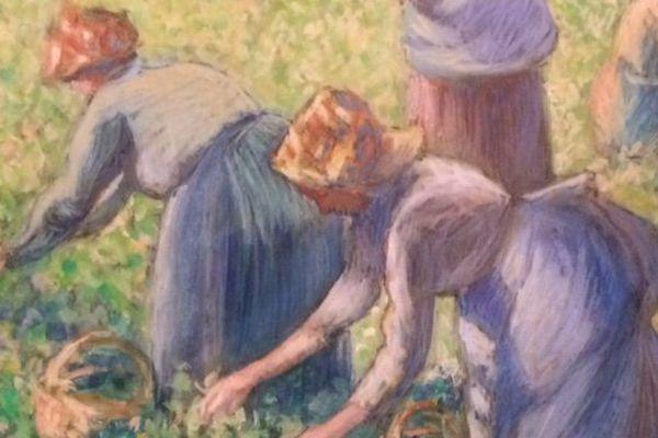 La cueillette des pois, gouache sur papier, 1887, Camille Pissarro