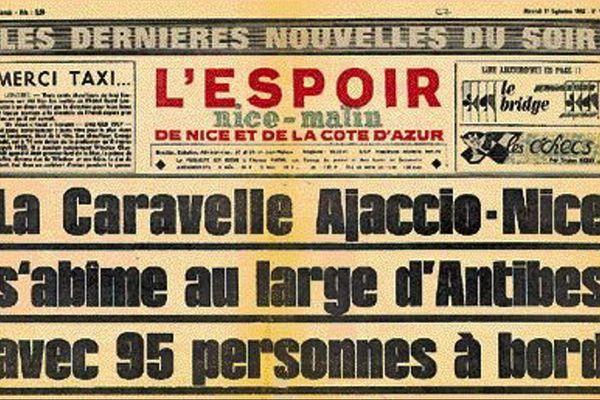 La Une  de Nice Matin l'Espoir du 11 septembre 1968 annonçant l'accident de la Caravelle Ajaccio Nice.