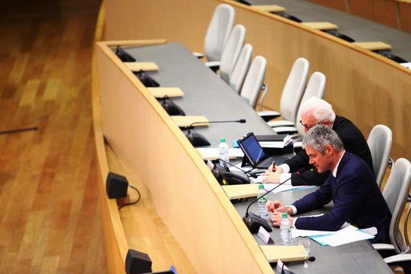 Laurent Wauquiez (Les Républicains) a pris les commandes du tout nouveau conseil régional d'Auvergne-Rhône-Alpes, le lundi 4 janvier 2016.