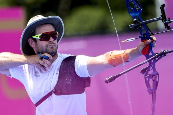 Jean-Charles Valladont lors de l'épreuve de tir par équipe mixte, samedi 24 juillet 2021 aux JO de Tokyo