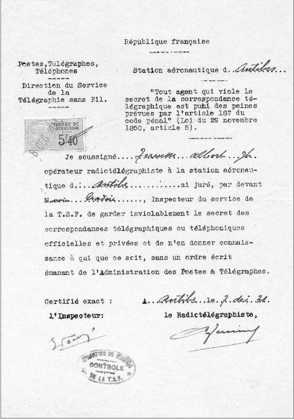 Les radios sont amenés à réitérer leur serment, par écrit, comme l'atteste ce document officiel de la République française de 1931.
