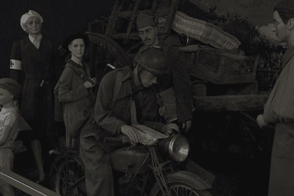 L'exode des civils fuyant la guerre: c'est l'une des rares scènes du musée encore en place.