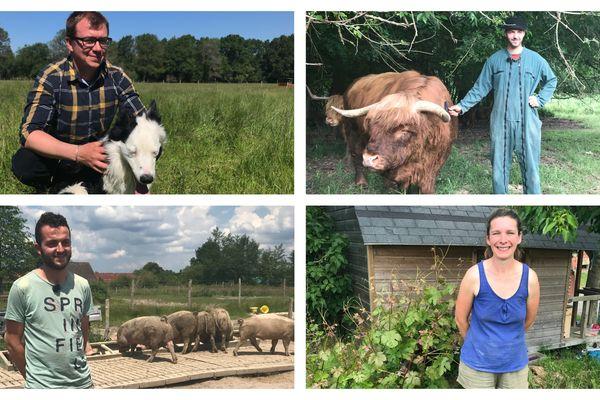 Les nouveaux éleveurs : Nils Aucante à Yvoy-le-Marron, Victor Gabilleau à Averdon, Baptise Prognon à Nouan-le Fuzelier et Adèle Champdavoine à Couêtron au Perche.
