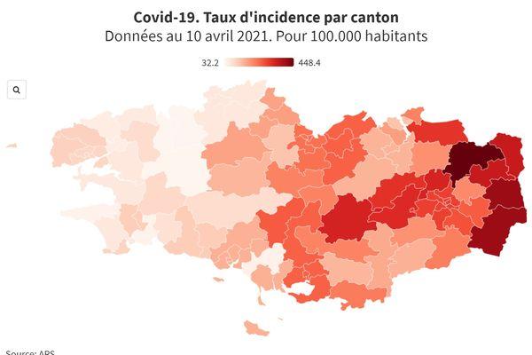 Taux d'incidence au Covid par canton en Bretagne