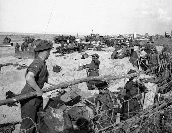 British troops and naval beach parties on Sword Beach in Normandy on D-Day, 6 June 1944.