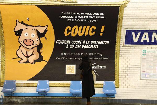 Campagne Welfarm dans le métro parisien en février 2017