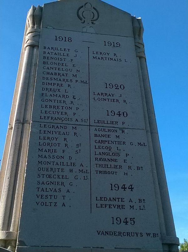 Le monument aux morts des Andelys et la famille Tribout