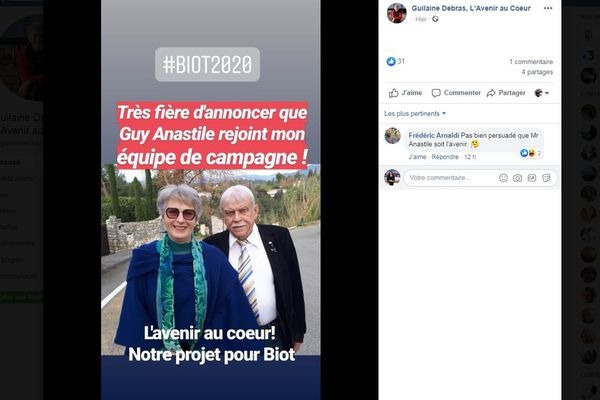Post facebook de Guilaine Debras #biot2020