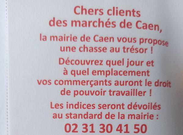 Le tract ironique des marchands ambulants de Caen.