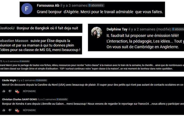 Commentaires reçus du monde entier par la maîtresse part en live, Marie-Solène Letoqueux.
