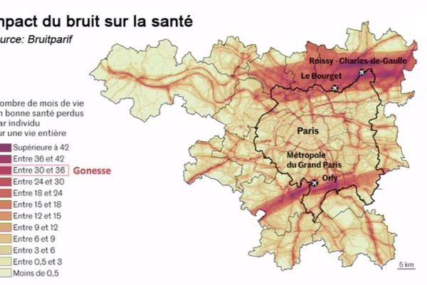L'impact du bruit des transports sur la santé en Île-de-France, par Bruitparif.