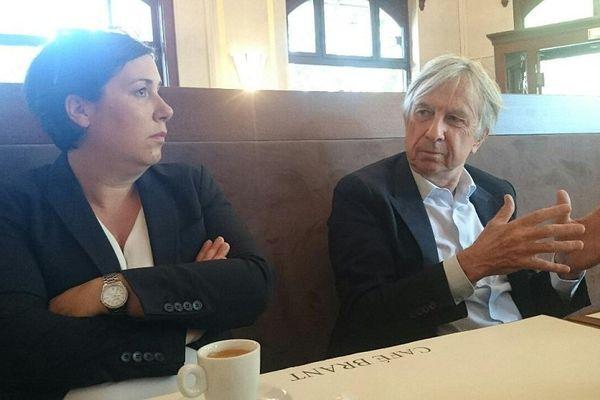 Jean-Pierre Masseret, vendredi matin à Strasbourg, avec Anne-Pernelle Richardot, la 1ère secrétaire du PS 67