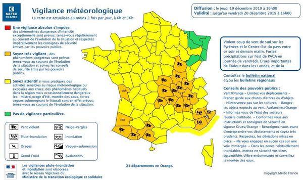 Les départements de l'Ariège, Haute-Garonne et Hautes-Pyrénées placés en vigilance orange pour vent violent d'une intensité rare du jeudi 19 décembre 19 h au vendredi matin 10 h.