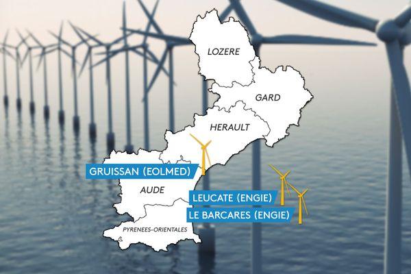 Les premières éoliennes flottantes seront mises en service en 2022, au large Leucate et Gruissan (Aude).