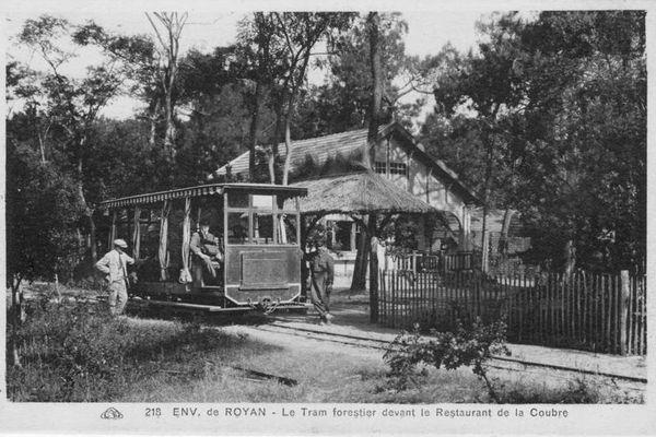 Environs de Royan - Le tram forestier devant le restaurant de Coubre.