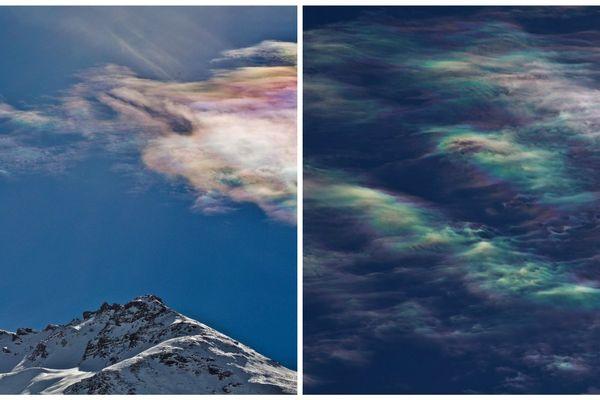 Les belles couleurs du nuage iridescent photographié par Pierre Huart au dessus du col du Mont-Cenis, en Savoie.