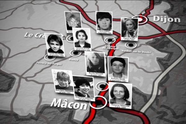 Plusieurs jeunes femmes ont disparu ou ont été retrouvées mortes en Saône-et-Loire, entre 1986 et 1999. C'est l'affaire des disparues de Saône-et-Loire (ou les disparues de l'A6)