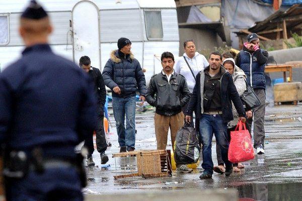 Evacuation d'un camp de Roms à Lille en septembre 2013.
