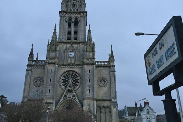 La façade de l'église Saint-André à Mont-Saint-Aignan le 13 janvier 2020