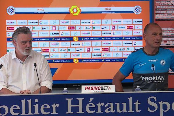 Laurent Nicollin et Michel Der Zakarian lors de la conférence de presse de reprise du club - 22.06.20