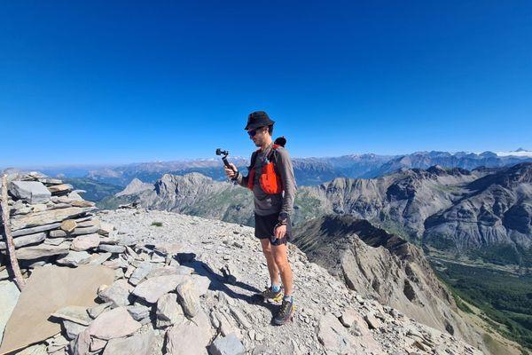 Christophe Tieran en-haut du mont Pelat.
