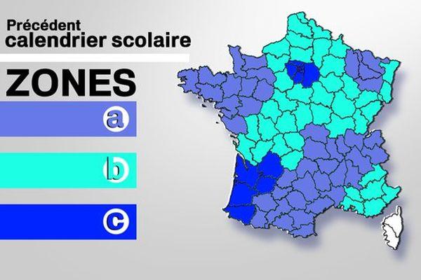 Le calendrier scolaire précédent, dans lequel la Lorraine était en zone A.