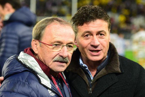 Jacques Brunel et Laurent Marti le 23 décembre 2017 au stade Matmut-Atlantique.