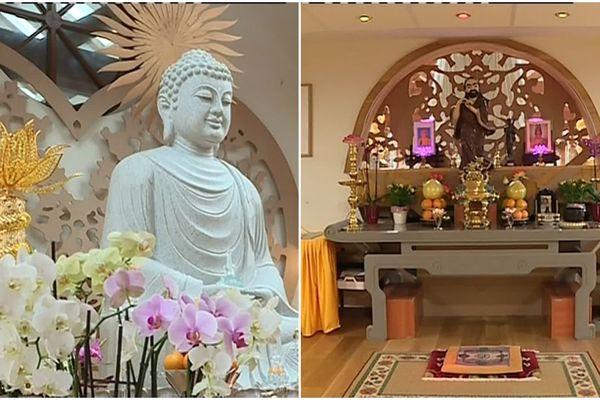 La cérémonie respecte les rites du bouddhisme vietnamien.