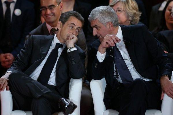 Nicolas Sarkozy et Hervé Morin au meeting pour les régionales en Normandie à Rouen le 30 novembre.