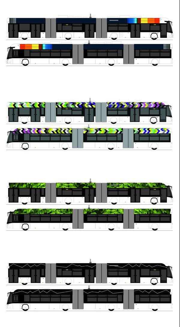 """4 petits e-busway, œuvres : """"Voyage du centre de la terre au centre de la lune"""" de Julien Nedelec, """"Beautiful Bus #1"""" de Baumann Lang, """"High Line and green grass"""" de Eva Taulois, """"Ligne aveugle"""" de Hugo Schüwer Boss,"""