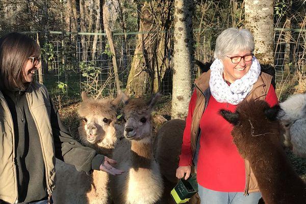 Christelle et Patricia avec leurs alpagas