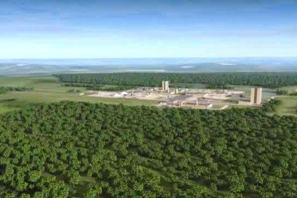 Aperçu 3D du futur centre de stockage de déchets nucléaire Cigéo à Bure (Meuse).