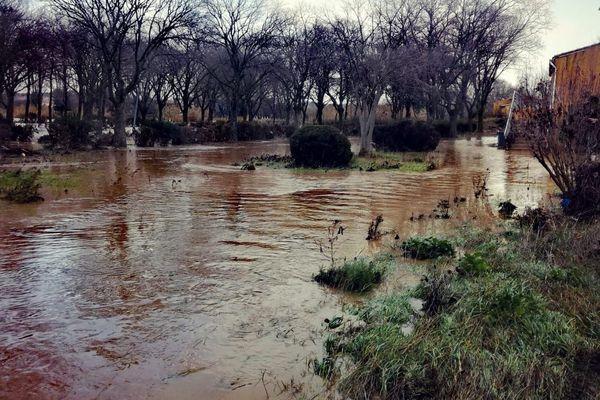 Un quartier de Trèbes après le passage de la tempête Gloria en janvier 2020