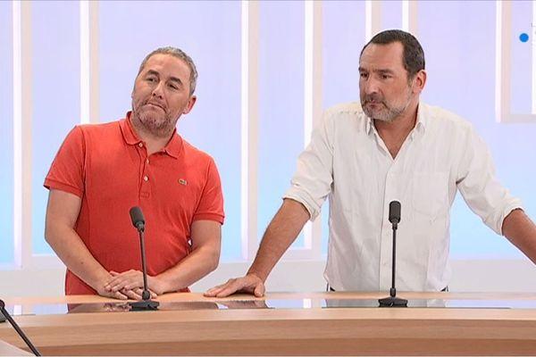 Gilles Lellouche et le scénariste Ahmed Hamidi sur le plateau du 19/20