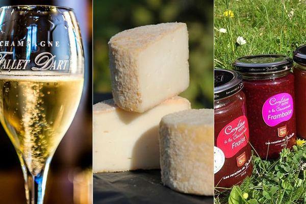 Le champagne Fallet-Dart, le fromage T'chiot Biloute et la Confiture à la Cassonade Framboise de Lucullus médaillés.