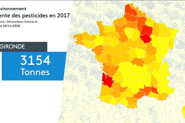La carte de France et la Gironde dans le rouge : 3154 tonnes de pesticides utilisés en 2017
