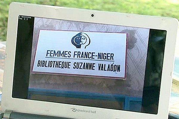 """La façade de la bibliothèque de Manésora au Niger, aidée par l'association """"Femmes France-Niger"""""""