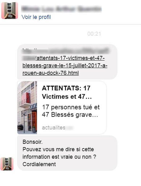 Capture d'écran d'u message reçu dans la nuit par la rédaction de France 3 Normandie