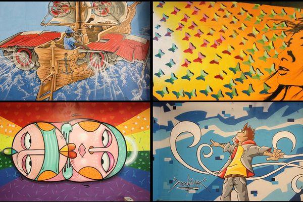 Durant le weekend dernier, 13 street-artistes ont redonné de la couleur au tunnel des ambulances du CHU de Caen. Ici les oeuvres de Konu, Mookimax, SABéPAT et WAEL EID